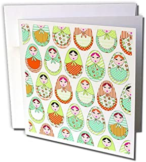 3dRose Cute Russian Matryoshka Nesting Dolls Print - Warm Colors White - Greeting Cards, 6 x 6 inches, set of 6 (gc_58631_1)