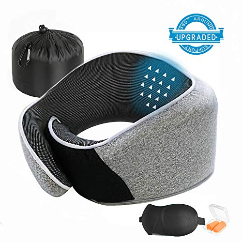 layaker Travel Pillow 100% Pure Memory Foam Neck Pillow Travel Kit $9.72 (64% Off)