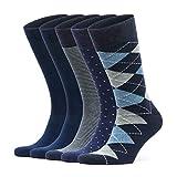 VRD - Men's Bamboo Dress Socks for Men - Soft Casual - 5-Pack - Patterned Designed - Comfortable Odorless - Men's Socks & Hosiery - Size 8-12 Navy