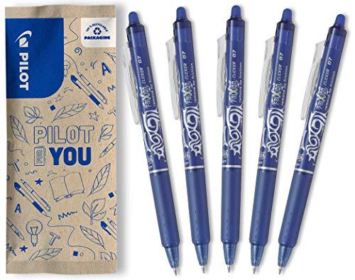 PILOT FriXion Clicker, radierbarer Tintenroller, 5er Set (Blau)