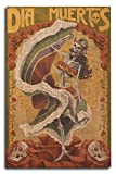 Lantern Press Skeleton Dancing - Day of The Dead (10x15 Wood Wall Sign, Wall Decor Ready to Hang)