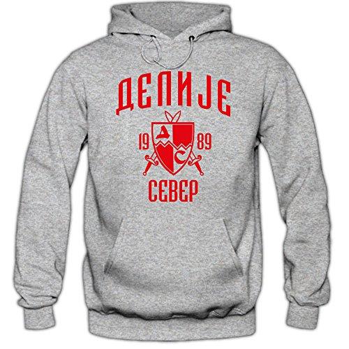 Shirt Happenz Delije Premiumhoodie Red Star Hoodie Crvena Zvezda Beograd Sever Srbija, Farbe:Graumeliert;Größe:5XL