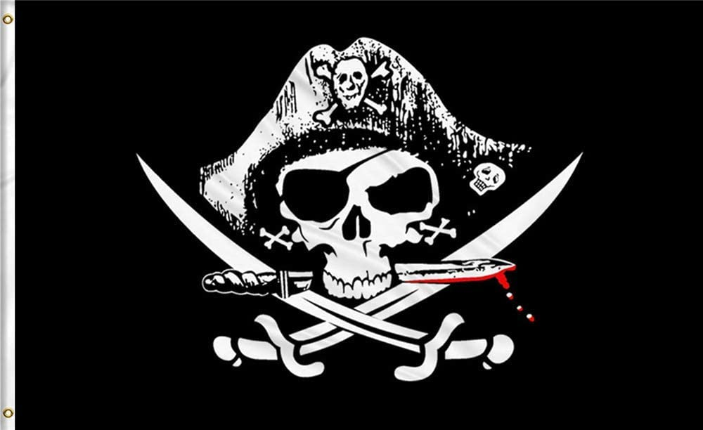 GAKA 3x5 FT Pirate Flags Jolly Roger Flag Patch - Halloween Flags Bright Colors Anti-Fading Materials