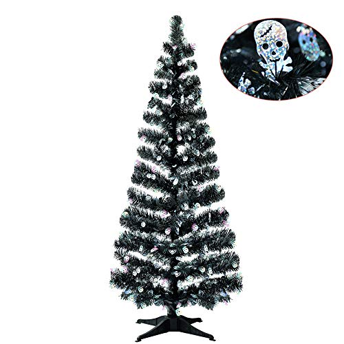 YuQi 5FT Pop Up Tinsel Branches Halloween Trees w/Plump Skull Sequin, Collapsible Artificial Halloween Xmas Black Tree w/Plastic Stand for Halloween Haunted House, Party Decor