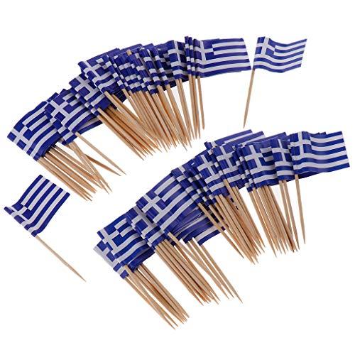 100pcs Cocktail Picks Sandwich Sticks Dekor mit Flagge Design für Bar Restaurant Cafe - Griechenland