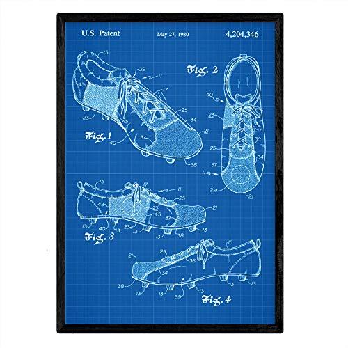Nacnic Poster Patent Fußballschuhe. Blatt mit altem Design-Patent A3-Format mit blauem Hintergrund