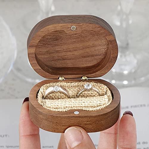JSJJAKM Caja de joyería fina para anillos de boda, caja de joyería minimalista con forma de corazón, regalo de boda, caja de joyería de nogal (tamaño: 7 x 4,9 x 3,4 cm)