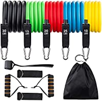 Redess 11-Piece Resistance Bands Set 5 with Stackable Exercise Bands, Carry Bag, Handles, Legs Ankle Straps & Door Anchor