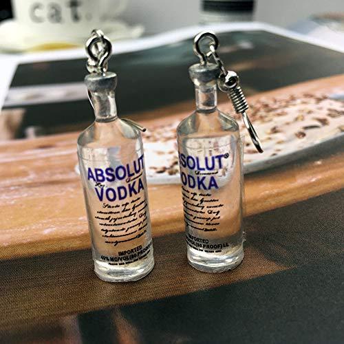 1 Paar handgemachte kühle Flasche Wodka-Tropfen-Ohrringe Interessante Getränkeflaschen baumeln Ohr-Haken - 3