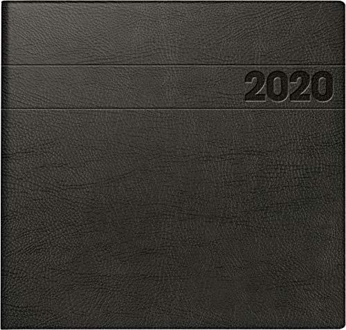BRUNNEN 107661190 Buchkalender Quadratkalender groß Modell 766 (2 Seiten = 1 Woche, 210 x 205 mm, Schaumfolien-Einband, Kalendarium 2020) schwarz