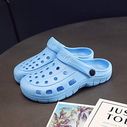 TDYSDYN Zapatillas de Masaje Hombres,La Puntera Antideslizante Calza los Zapatos de la Enfermera, el talón Plano Calza Las Mujeres-Azul Claro_44