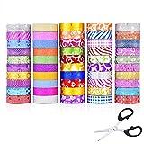 Juego de cinta adhesiva con purpurina, 50 unidades de cinta adhesiva con purpurina, ideal para manualidades y manualidades