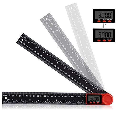 2 in 1 Digitales Winkelmesser Aweohtle 360° Multi Winkel Lineal mit LCD Anzeige und HOLD und Feststell Funktion für Holzarbeiten, Heimarbeit, Handwerker - 300 mm/11 Zoll
