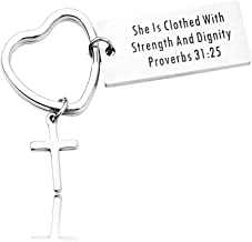 RUNXINTD Cross Bracelet Christian Gifts Religious Cuff Bangle Key Chain She is Clothed with Strength and Dignity