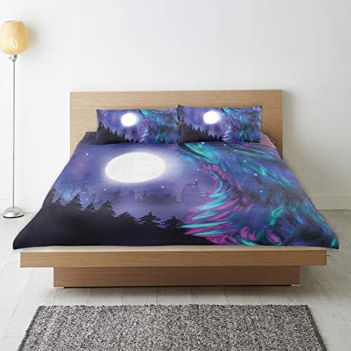 Marutuki Bedding Juego de Funda de Edredón,Imágenes del Norte con Aurora Borealis Wolf Spirit Magical Forest Starry Nigh,Microfibra SIN LLENAR,(Cama 140x200 + Almohada)