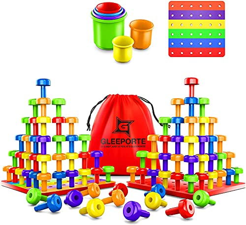 Stacking Peg Board Set Toy | JUMBO PACK | 60 Pegs & Board + FREE Stacking Cups + FREE Colorful Board...