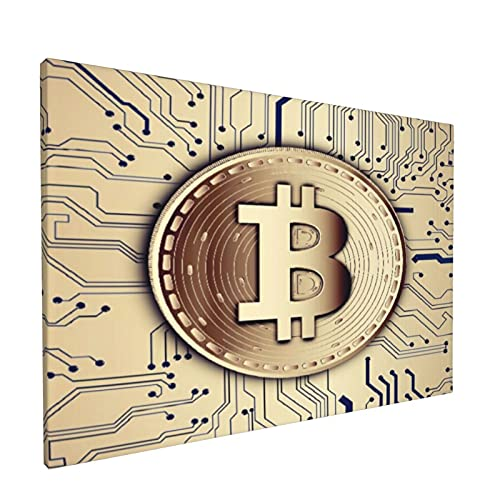 PATINISA Cuadro en Lienzo,Base de datos distribuida de nodos redondos de moneda Bitcoin virtual encriptado digitalmente Pobre,Impresión Artística Imagen Gráfica Decoracion de Pared