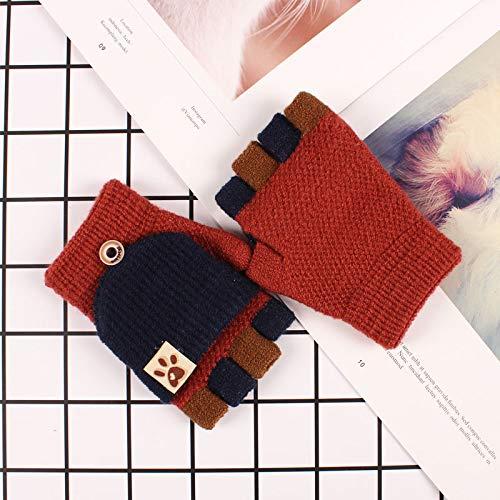 Xme Warme Flip-Handschuhe für Kinder, gestrickte Halbfingerhandschuhe, Outdoor-Sporthandschuhe für Cartoons