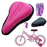 """TOMDLING Kids Gel Bike Seat Cushion Cover, Breathable Memory Foam Child Bike Seat Cover, Seat Cushion for Children's Bicycle, with Water and Dust Resistant Cover, 9""""x6"""" (Pink)"""
