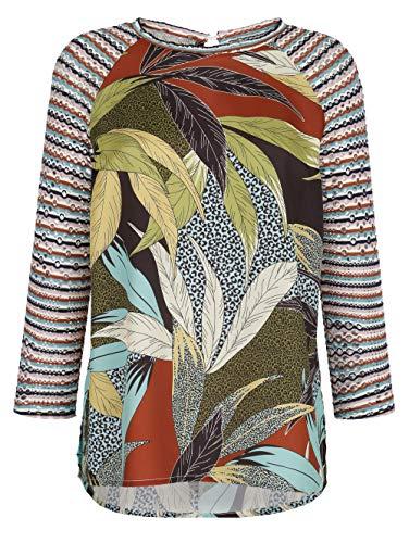 Alba Moda Blusenshirt Langarm in Multicolor mit Ärmeln aus Lochjersey