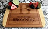Personalized Wedding Gift for the Couples, Small Wooden Cutting Board (8.5 x 11 Two Tone Bamboo with Curved Edges, Browning) | Anniversary, Mothers Day Gift for Mom, Grandma | Housewarming Gift