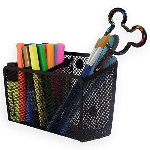 Magnetic Pencil Holder Organizer - Perfect for Locker Refrigerator Whiteboard Office Fridge - Metal Mesh Pen Cup for Accessories Marker Eraser Chalk Supplies - Strong Magnet Storage Bin Basket Storage