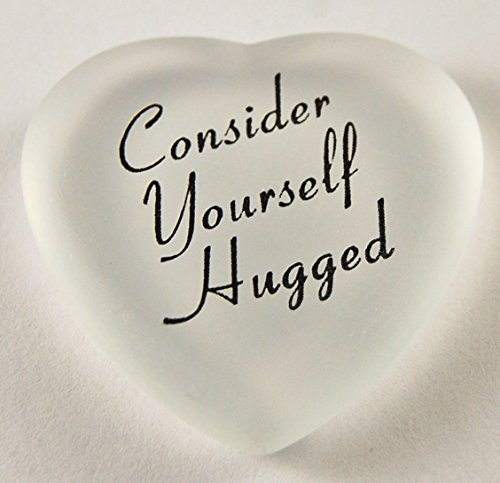 Consider Yourself Hugged Heart Stones - Imprinted Glass Word Stones With Organza Bag