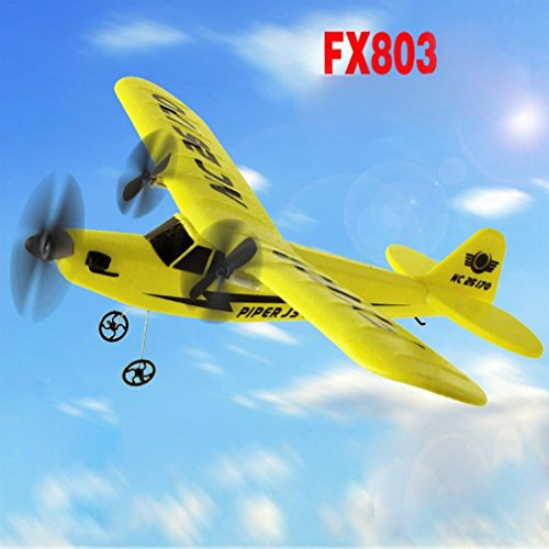 E-SCENERY 2.4G 2CH Radio Remote Control Airplane Aircraft Glider, EPP Foam RC Plane Helicopter Toys for Kids Adults (Yellow)