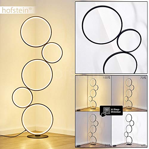 LED vloerlamp Rodekro, dimbare metalen vloerlamp in zwart, 36 Watt, 3200 Lumen, lichtkleur 3000 Kelvin (warm wit), vloerlamp met dimmer via voetschakelaar