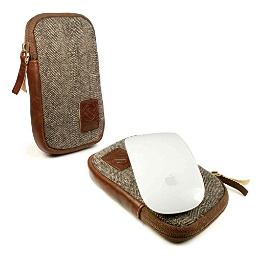 Tuff-Luv Herringbone Tweed Travel case für Apple Magic Mouse 1 & 2 - Braun