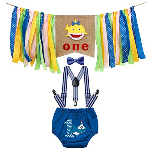 IZKIZF Baby Boy 1st Birthday Shark Costume High Chair Banner Decoration Cake Smash Photo Props Suspenders Bow Tie Outfits 12-18M