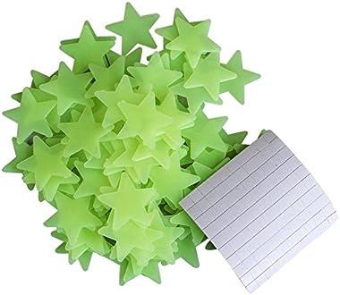 Pindia 55Pc Luminous Fluorescent Glowing Night Sky Wall Sticker Radium Glow Stars Starry Sky-Green