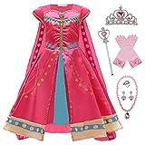 YOSICIL Disfraz Jasmine Niña, Vestido de Princesa Aladdin Jasmine con Lentejuelas, Traje Jasmine para Halloween Cosplay Navidad Fiesta Carnaval (3-8 Años), con Capa
