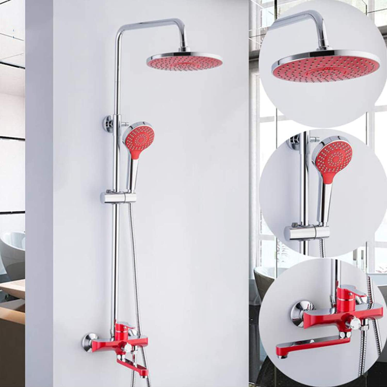BTSSA 3-Funktion Duschsystem mit Regal Regendusche Duschset Duscharmatur Dusche Rainshower inkl. Handbrause überkopfbrause Brausestange