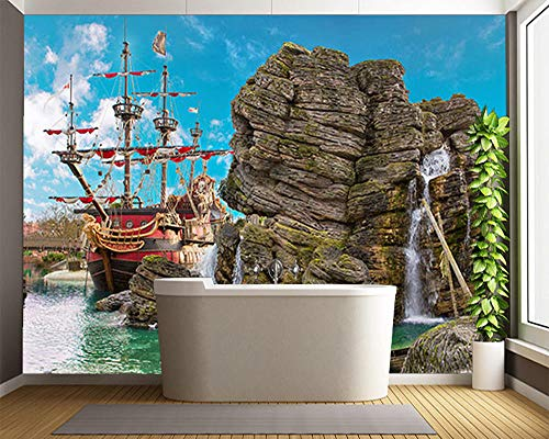 Sucsaistat Kindertapete, Pirate Island-Wandgemälde Für Kinderzimmerwohnzimmerhintergrund-Inneneinrichtungstapete,200 * 140Cm