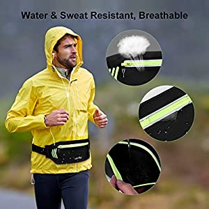 BASEIN Fanny Pack Slim Soft Outdoor Dual Pouch Sweatproof Reflective Running Belt Waist Pack for Hiking Fitness – Adjustable Waist Pouch for All Kinds of Phones(Black)