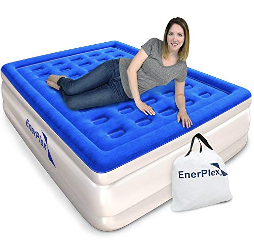 EnerPlex Never-Leak Queen Air Mattress with Built in Pump Raised Luxury Airbed Double High Queen Inflatable Bed Blow Up Bed 2-Year Warranty Manufacturer