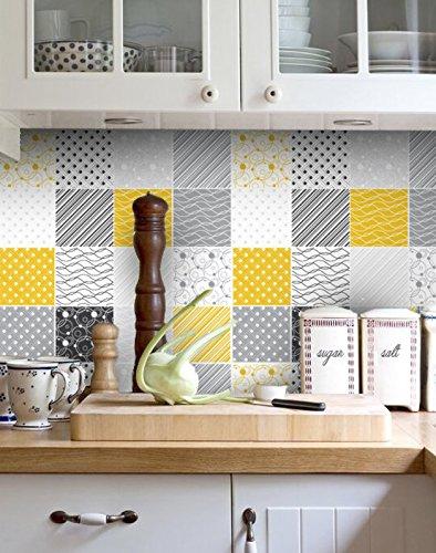 Adesivi per Piastrelle - Confezioni con 32 Piastrelle (10 x 10 cm, Adesivi Parete Colore Giallo e Grigio Decorazione Piastrelle Idee Casa Fai da Te)