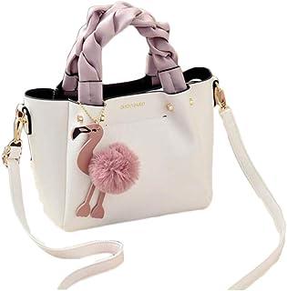Female Bag Handbag Ladies Phone Pocket Soft Woman Handbags Flap Flamingo Tassel Leather Women Shoulder Crossbody Bags,White,S