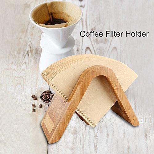 Houten koffiefilter bamboe koffie dispenser houder rek hout papier opslagrek stand voor espresso koffiezetapparaat