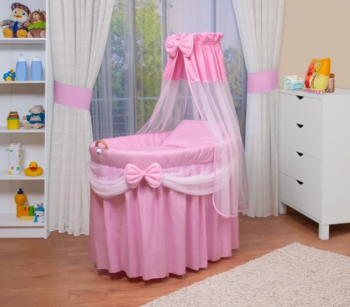 WALDIN Cuna Moisés, carretilla portabebés XXL, 6 colores a elegir, rosa/blanco