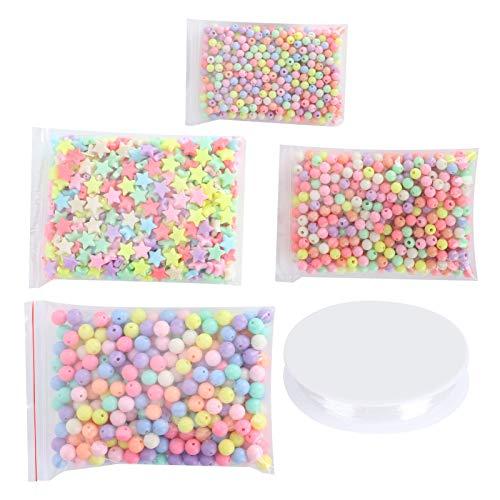Perline Beads 2000 Pezzi Perline Colorate 6mm/8mm/10mm Perline Rotonde Allentate con Perline a Stella per Braccialetti Artigianali Collane Creazione di Gioielli