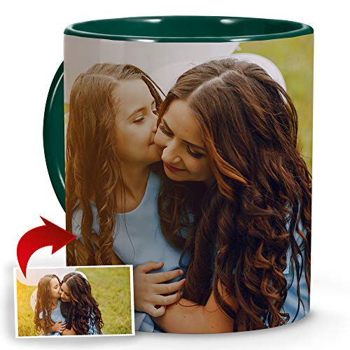 LolaPix Tazas Personalizadas Mamá. Regalos Personalizados con Foto. Taza Personalizada de Cerámica. Taza con Color Interior y Asa Verde Oscuro