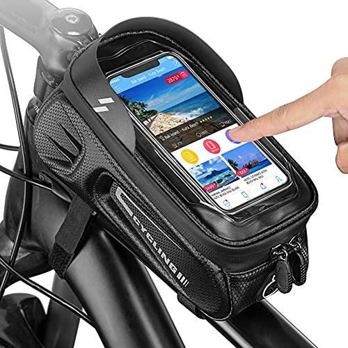 PELLOR Fahrradtasche Rahmen Fahrrad Rahmentasche Wasserdicht Satteltaschen Fahrradzubehör Handyhalterung Fahrrad Handytasche mit Kopfhörerloch für Smartphone unter 6.8 Zoll