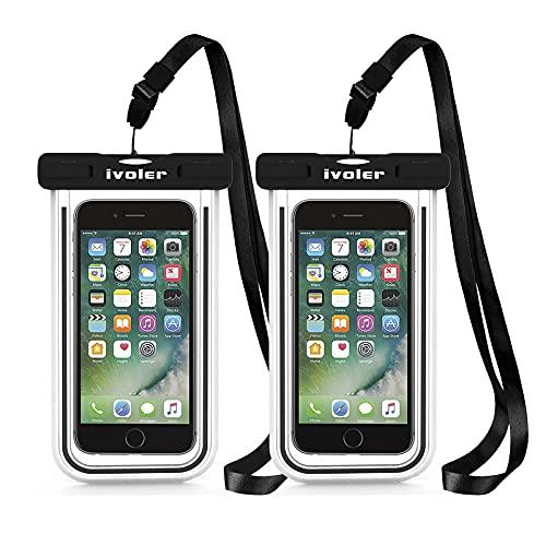 iVoler [2 Pezzi] Custodia Impermeabile Smartphone, IPX8 Borsa Impermeabile Sacchetto Impermeabile Cellulare Dry Bag Universale Waterproof Cover Case per iPhone, Samsung, Huawei, ECC. (Nero+Nero)