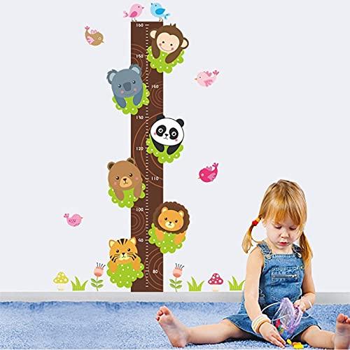 Skog panda tiger lejon apa höjd mått vägg klistermärken för barn rum dekor tecknad djur tillväxt diagram väggdekaler affisch