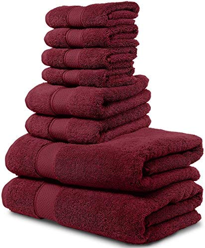 Maura 8 Piece Bath Towel Set.2 Extra Large 30'x56' Premium Turkish Bath Towels, 2 Hand Towels, 4 Washclothes. Thick, Soft, Plush and Highly Absorbent Luxury Hotel & Spa Quality Towels - Burgundy
