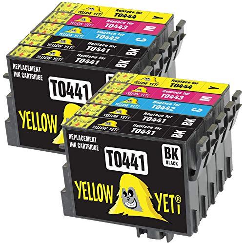 Yellow Yeti Ersatz für Epson T0441 T0442 T0443 T0444 T0445 Druckerpatronen kompatibel für Epson Stylus C64 C66 C84 C86 CX3600 CX3650 CX4600 CX6400 CX6600 (4 Schwarz + 2 Cyan + 2 Magenta + 2 Gelb)