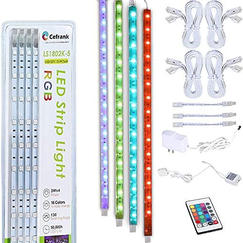Vitrinenbeleuchtung, 4x RGB Erweiterbare LED Lichtleisten 40cm - Küchen Unterbauleuchten Set - EU-Stecker - Fernbedienung, Mehrfarbig