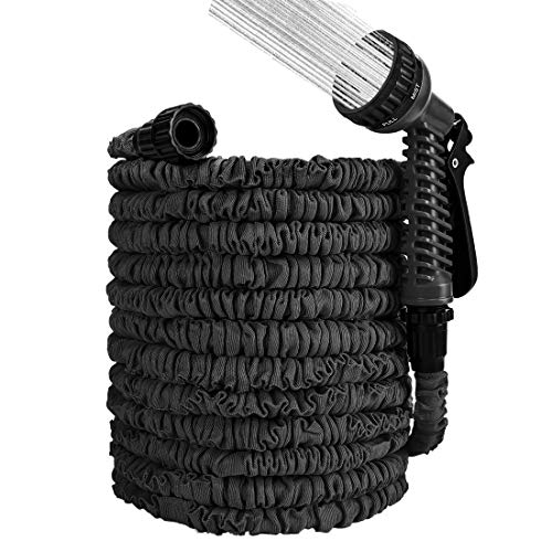 Expandable Garden Hose 50ft, Garden Hose Water Hose with Nozzle and Solid Fittings, Flexible Garden Hose for Watering Plants & Car Wash (Black)